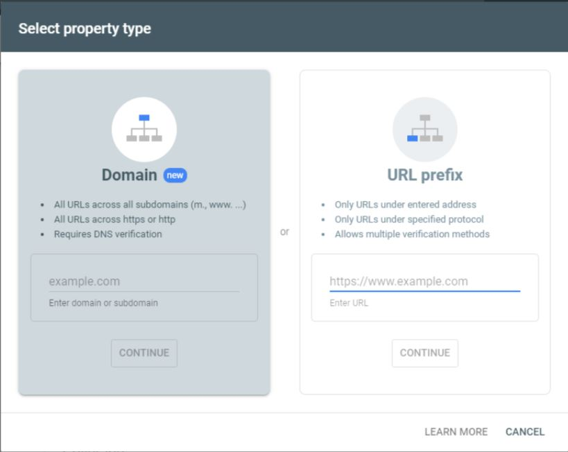 Search console property type